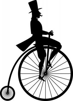 Naklejka Czarna sylwetka wektor dżentelmena na vintage bicykl rowerze, EPS 8