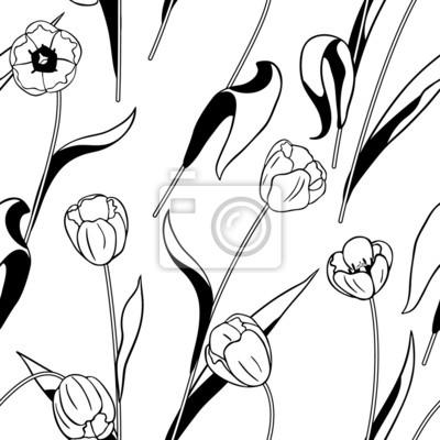 Czarne i białe tulipany wzór