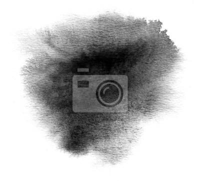 Czarne plamy z farby akwarela plamistość i pociągnięcia pędzla