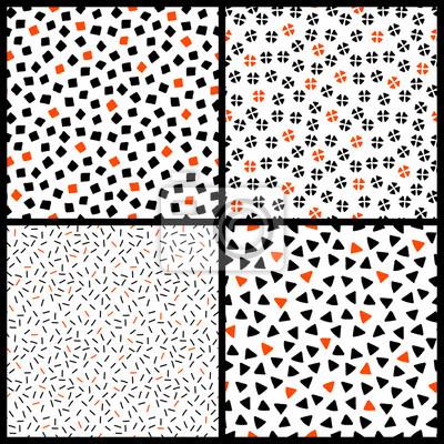 eb06ea74915506 Czarno-białe i pomarańczowe chaotyczne etnicznych geometryczne wzory  bezszwowe ustawiony, wektor