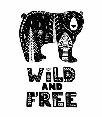 Naklejka Czarno-białe karty z napisem i niedźwiedź w skandynawskim stylu. Kreatywny plakat ze zwierzęciem i frazą. Ilustracji wektorowych.