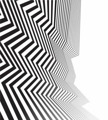 Naklejka czarno-białe mobious fali optycznej abstrakcyjny wzór paskiem