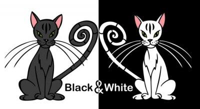 Naklejka Czarno-biały kot