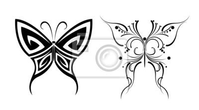 Czarno Biały Motyl Tatuaże Naklejki Redro