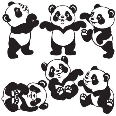 Naklejka czarno-biały zestaw z kreskówki panda