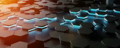 Naklejka Czarny błękitny i pomarańczowy sześciokąta tła wzoru 3D rendering