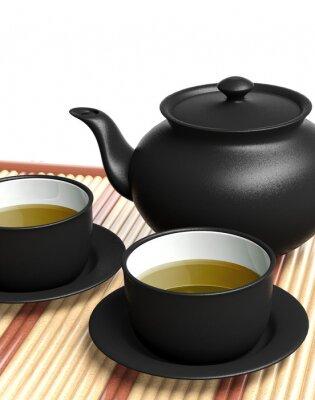 Naklejka Czarny czajnik i filiżanki na drewnianej tacy