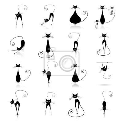 Naklejka Czarny kotów sylweta dla twojego projektu