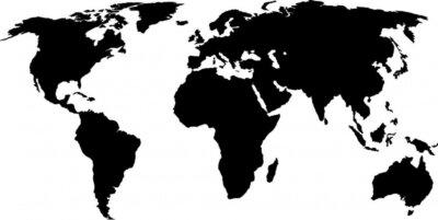 Naklejka czarny mapie świata