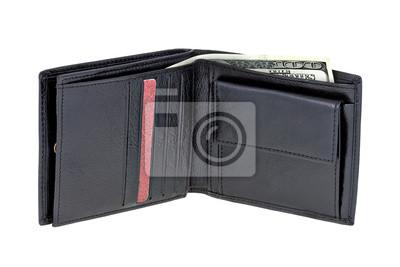 Czarny portfel z pieniędzmi papieru na białym tle