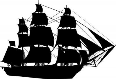 Naklejka czarny statek na białym