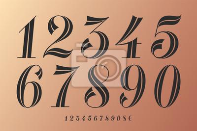 Naklejka Czcionka liczb. Klasyczna elegancka czcionka liczb z nowoczesnym wzornictwem. Piękne eleganckie retro symbole numeryczne, symbole dolara i euro. Vintage i retro typograficzne. Ilustracja wektorowa