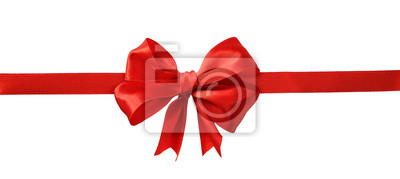 Naklejka Czerwona jedwabna wstążka i duża kokardka