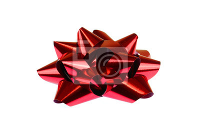 Naklejka czerwona kokarda na białym tle