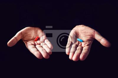 Naklejka Czerwona pigułka Koncepcja niebieskiej pigułki. Właściwy wybór koncepcja matrycy filmowej. Wybór tabletów