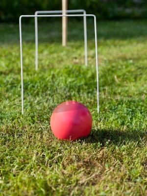 czerwona piłka gry w krokieta na ib zielonej trawie w letni dzień