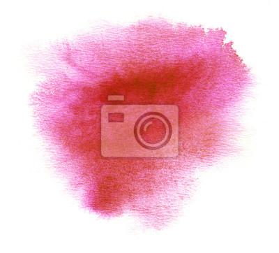 Czerwona plama z farby akwarela plamistość i pociągnięciami pędzla