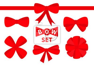 Naklejka Czerwona wstążka Christmas bow Wielki zestaw ikon. Element ozdobny na prezent. Białe tło. Odosobniony. Płaska konstrukcja.