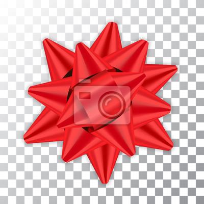 Naklejka Czerwona wstążka dekoracji element dekoracyjny pakiet Błyszczący kolor prezent dekoracji satynowej obecny izolowane białe tło przezroczyste. Boże Narodzenie Nowy Rok celebracji, urodziny wakacje proje