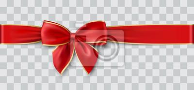 Naklejka czerwona wstążka i łuk ze złotem na Boże Narodzenie, ilustracji wektorowych