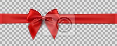 Naklejka Czerwona wstążka na przezroczystym tle. Dekoracja prezent - wektor