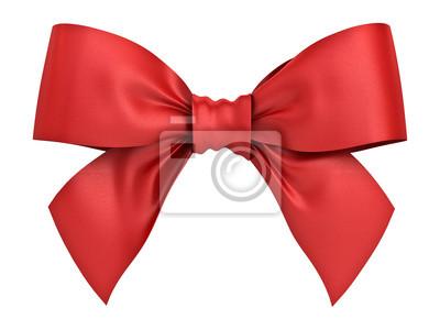 Naklejka Czerwona wstążka prezent wstążki wyizolowanych na białym tle. Grafika trójwymiarowa.