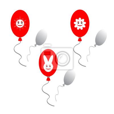 Naklejka Czerwone balony z zabawnych zdjęć