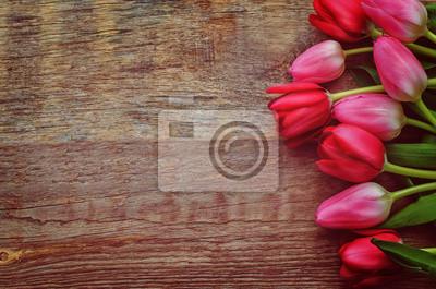 Naklejka czerwone i różowe tulipany