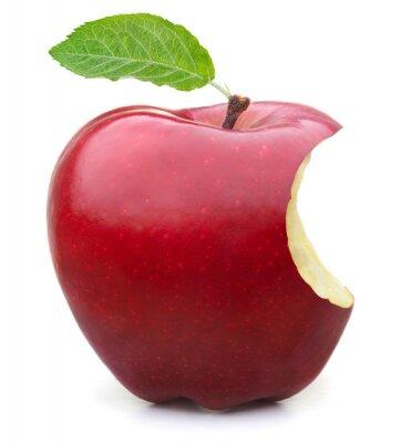 Naklejka Czerwone jabłko z brakujących ukąszenie na białym tle