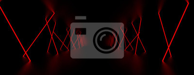 Naklejka Czerwone światło lasera świeci w ciemnym pokoju. Ilustracja 3D.