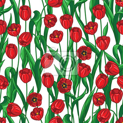 Czerwone tulipany wzór