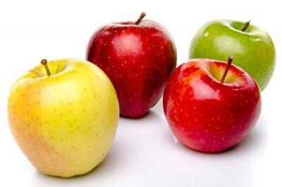 Naklejka Czerwone, zielone i żółte jabłka