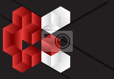 Czerwonego 3d sześcianu geometryczny ciemny tło