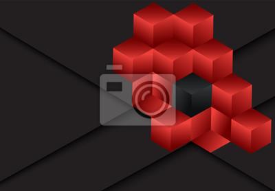 Czerwonego 3d sześcianu geometryczny ciemny tło dla karty, roczny raport biznesowy, plakatowy szablon