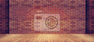 Naklejka Czerwonej cegły ściany tekstury i drewna podłogi tła
