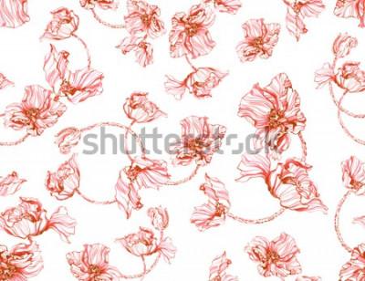 Naklejka Czerwoni makowi kwiaty na białego tła bezszwowym wzorze Akwarela atrament elegancka ręka malował kwiecistych okwitnięcia.