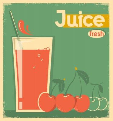Naklejka czerwony sok wiśniowy na karcie tle.Wektor rocznika ilustracji