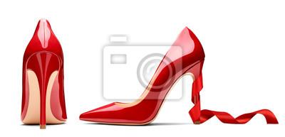 Naklejka czerwony wysoki obcas obuwie wstążki moda żeński styl