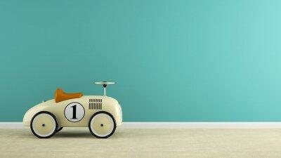 Naklejka Część wnętrza stylowe beżowe zabawka renderingu 3D samochód