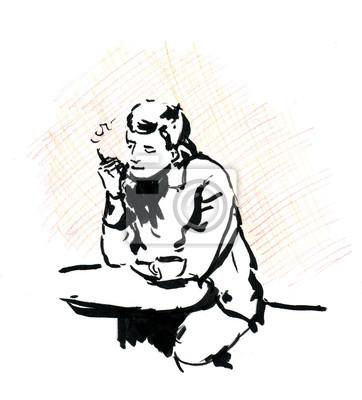 Człowiek palenia w kawiarni z filiżanką kawy i papierosa, szkicu.