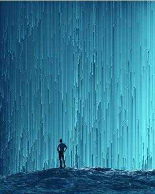 Naklejka Człowiek patrząc na strumieniu cyfrowym