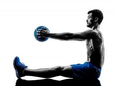 Naklejka Człowiek wykonywania ciężary fitness sylwetka