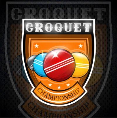 Cztery kulki krokieta na środku tarczy. Logo sportowe dla każdej drużyny lub mistrzostw.