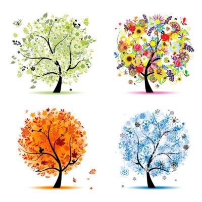 Naklejka Cztery pory roku - wiosna, lato, jesień, zima . drzewa art