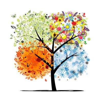Naklejka Cztery pory roku - wiosna, lato, jesień, zima. Drzewo sztuki