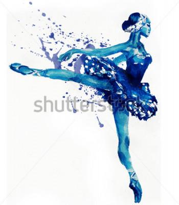 Naklejka Dancingowa balerina w błękicie Akwareli ilustracja
