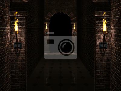 Naklejka Dark Castle korytarza ilustracji 3d
