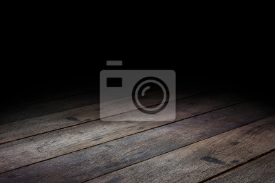 Naklejka Dark Plank wood floor texture perspective background for display or montage of product,Mock up template for your design