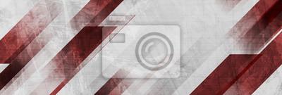 Naklejka Dark red and grey grunge stripes abstract banner design. Geometric tech vector background