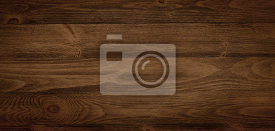 Naklejka Dark stained wood boards with grain and texture. Flat wood background with parallel horizontal lines.